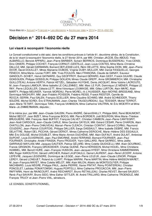 Vous êtes ici > Accueil > Français > Les décisions > Accès par date > 2014 > 2014−692 DC Décision n° 2014−692 DC du 27 mar...