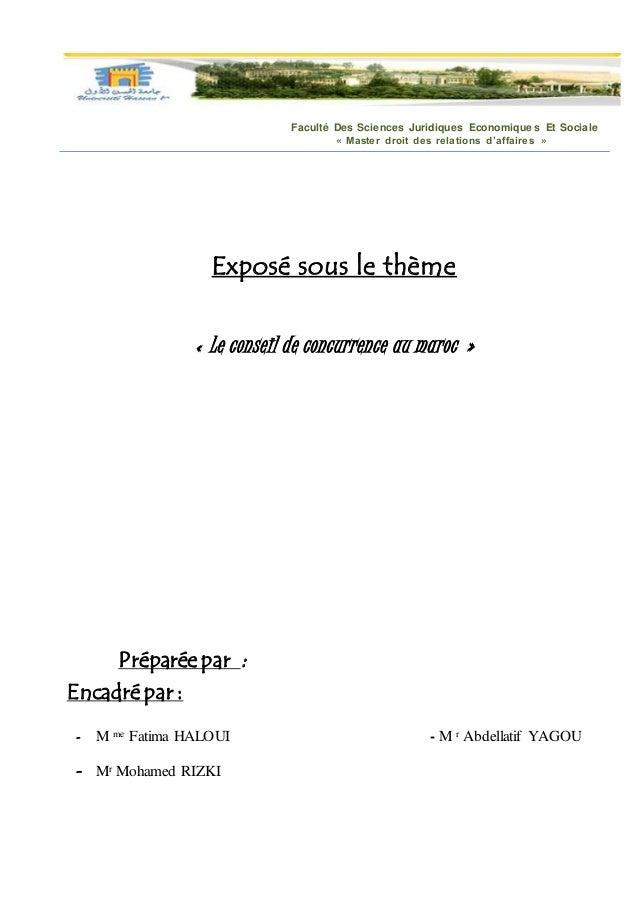 Faculté Des Sciences Juridiques Economiques Et Sociale « Master droit des relations d'affaires » Exposé sous le thème « Le...
