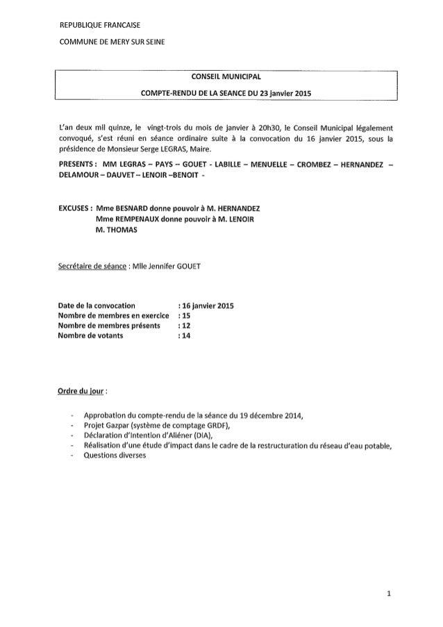 Compte Rendu Conseil Municipal du 23 janvier 2015