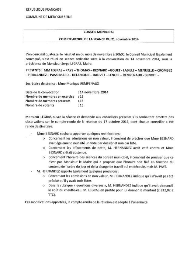 Conseil municipal du 21 novembre 2014 (Méry sur Seine)