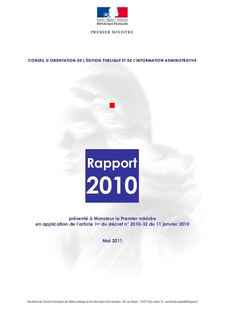 PREMIER MINISTRE CONSEIL D'ORIENTATION DE L'ÉDITION PUBLIQUE ET DE L'INFORMATION ADMINISTRATIVE                           ...