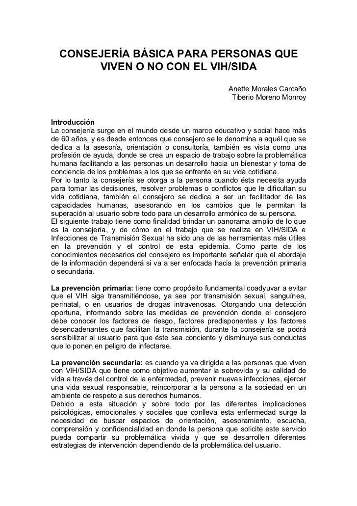 CONSEJERÍA BÁSICA PARA PERSONAS QUE       VIVEN O NO CON EL VIH/SIDA                                                      ...