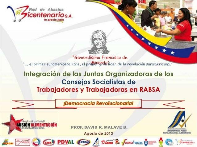 Integración de las Juntas Organizadoras de los Consejos Socialistas de Trabajadores y Trabajadoras en RABSA PROF. DAVID R....