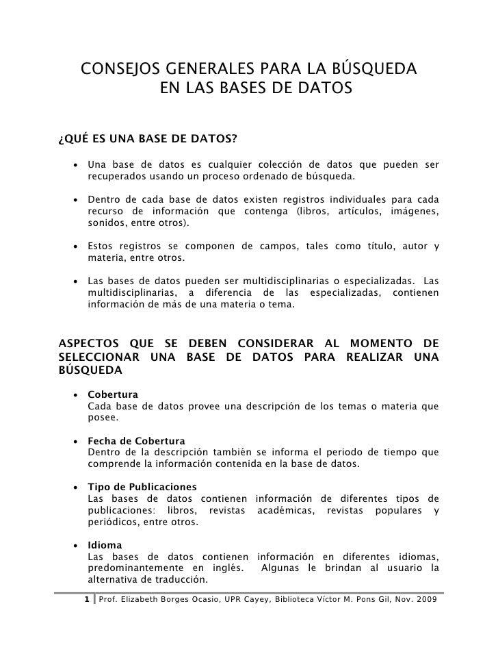 Consejos generales para el uso de las bases de datos.