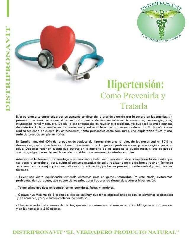 """DISTRIPRONAVIT """"EL VERDADERO PRODUCTO NATURAL"""" DISTRIPRONAVIT Hipertensión: Como Prevenirla y Tratarla Esta patología se c..."""
