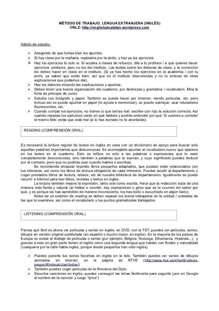 MÉTODO DE TRABAJO. LENGUA EXTRANJERA (INGLÉS)                           ©NLZ- http://englishatcatalan.wordpress.comHábito ...