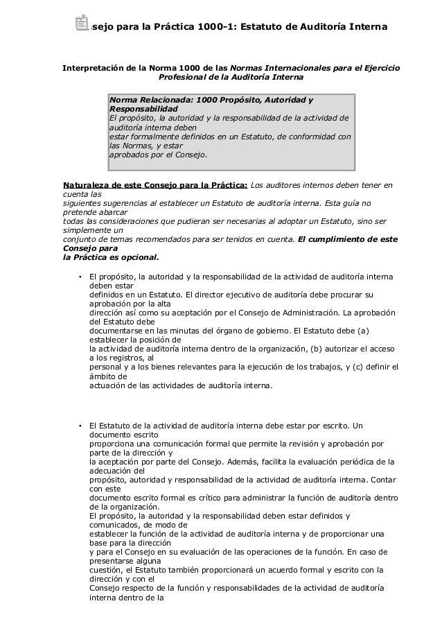 Consejo para la Práctica 1000-1: Estatuto de Auditoría Interna Interpretación de la Norma 1000 de las Normas Internacional...