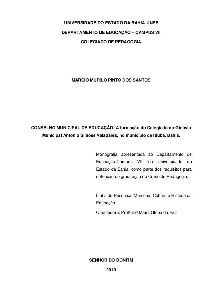 Monografia Márcio Pedagogia 2010