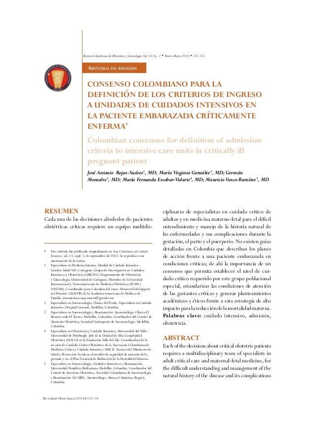 Rev Colomb Obstet Ginecol 2014;65:47-74 47-74) Artículo de revisión Resumen Cada una de las decisiones alrededor de pacien...