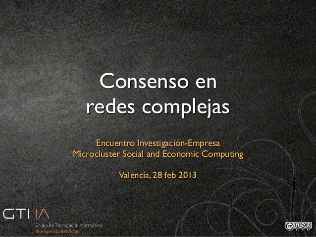 Consenso en redes complejas