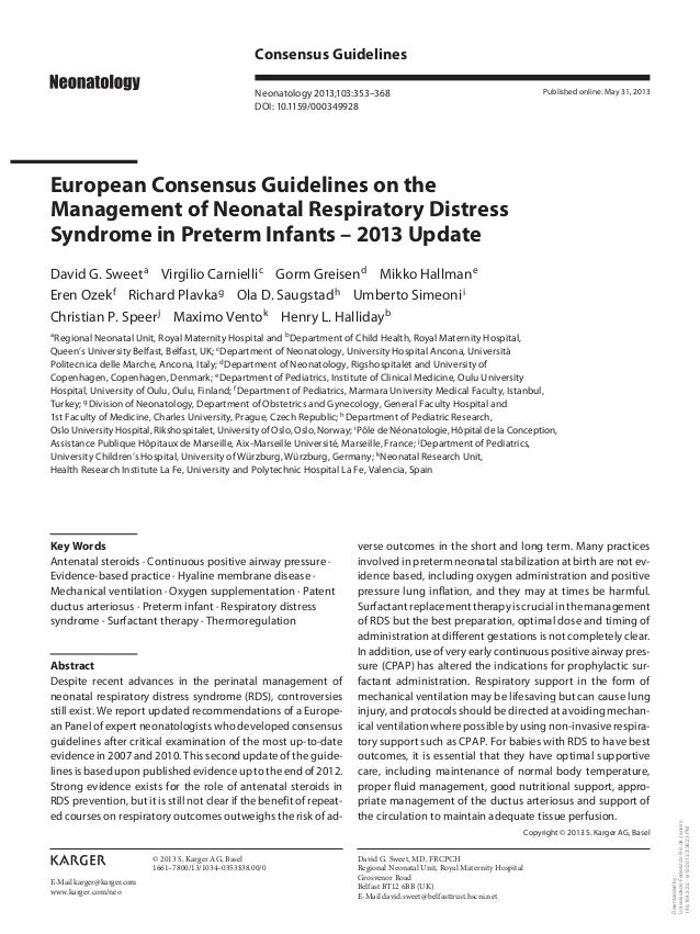 Consensus Guidelines Neonatology 2013;103:353–368 DOI: 10.1159/000349928  Published online: May 31, 2013  European Consens...