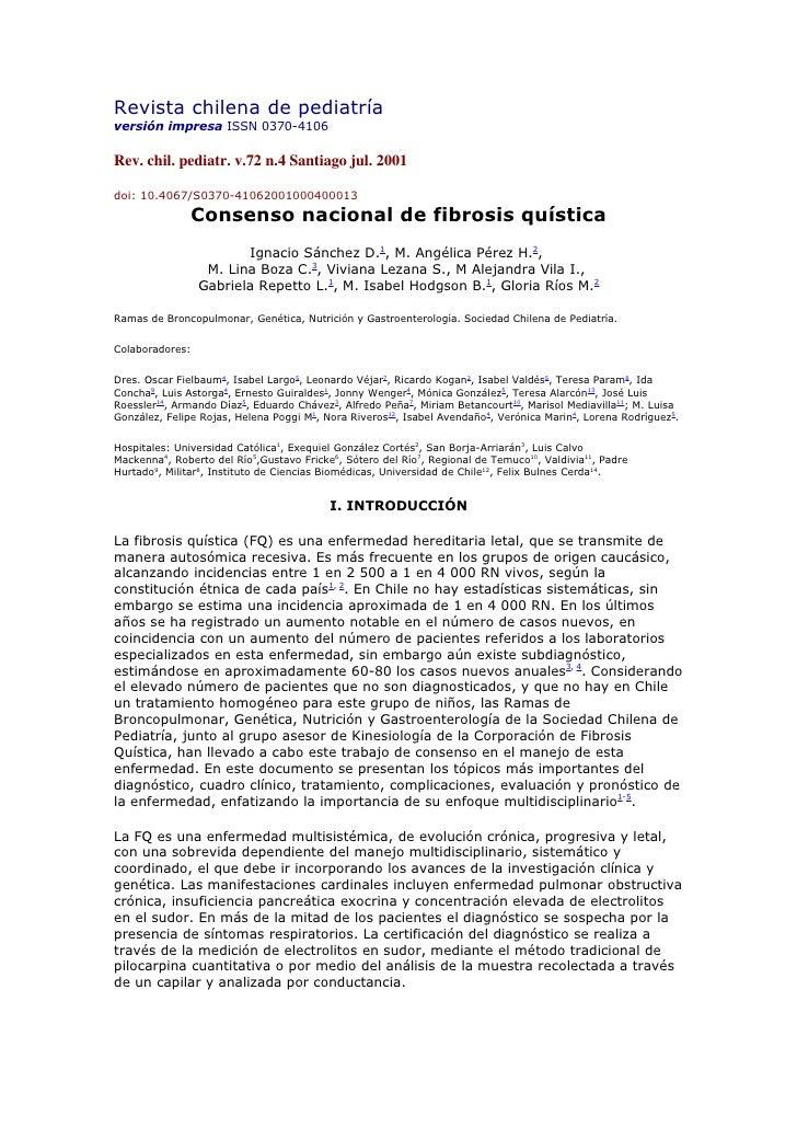 Revista chilena de pediatría versión impresa ISSN 0370-4106  Rev. chil. pediatr. v.72 n.4 Santiago jul. 2001  doi: 10.4067...