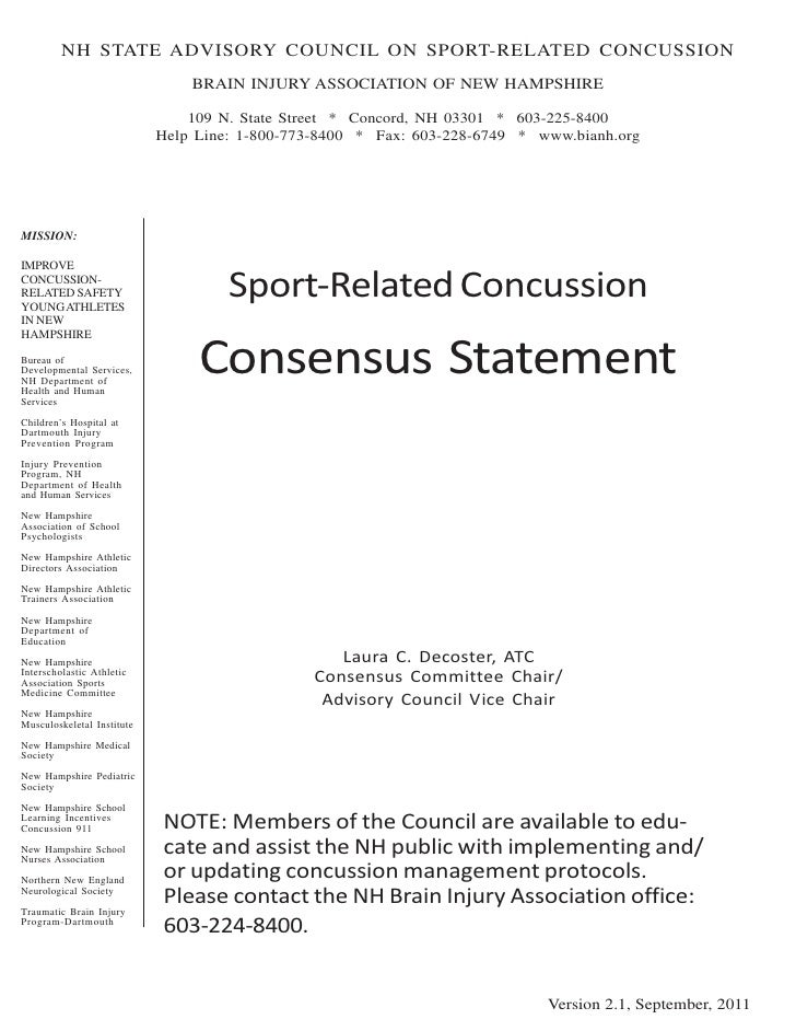 NH Sport Concussion Advisory Council Consensus statement version 2.1