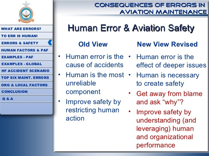 human error in aviation An overview of aviation maintenance aviation maintenance operations are the backbone of all successful aviation activities human errors in aviation maintenance.