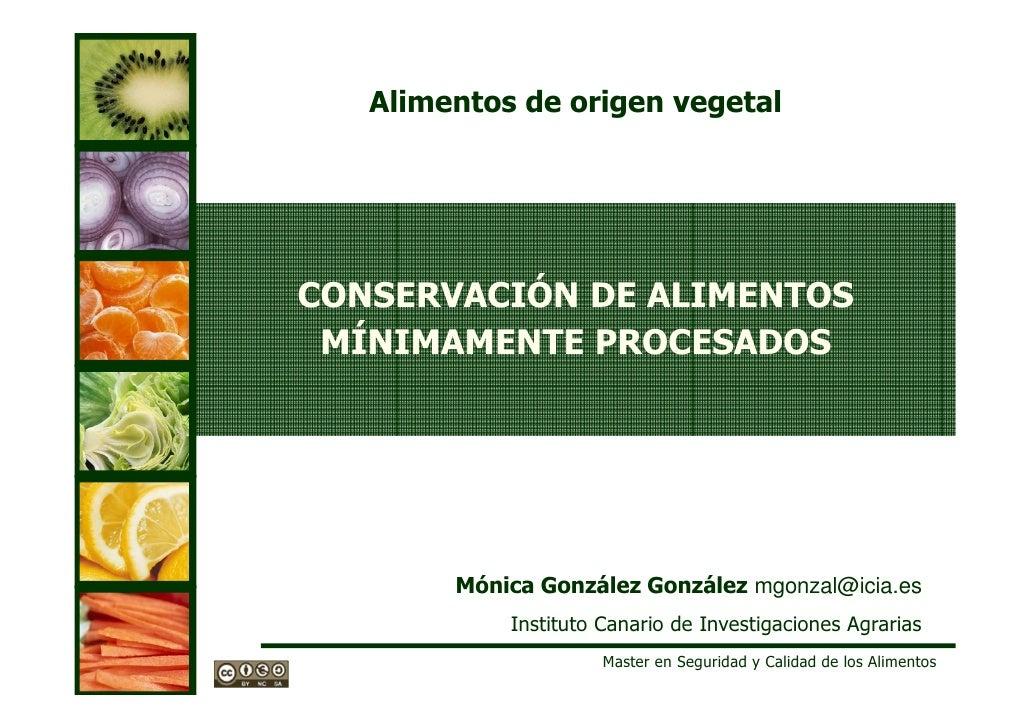 Alimentos de origen vegetalCONSERVACIÓN DE ALIMENTOS MÍNIMAMENTE PROCESADOS        Mónica González González mgonzal@icia.e...