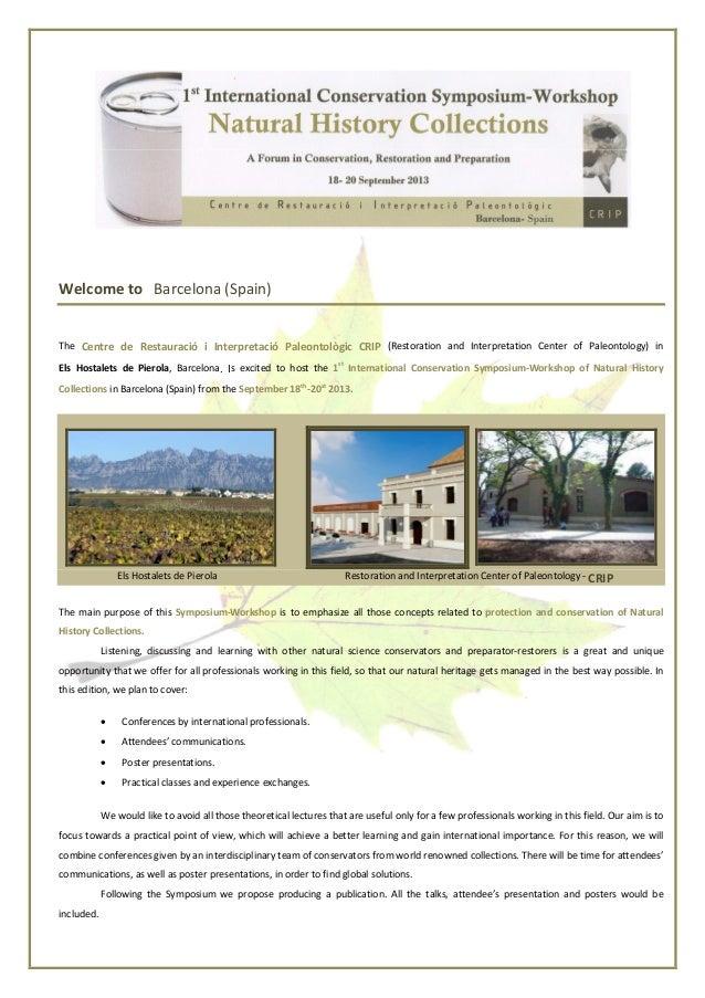 Welcome to Barcelona (Spain)The Centre de Restauració i Interpretació Paleontològic CRIP (Restoration and Interpretation C...
