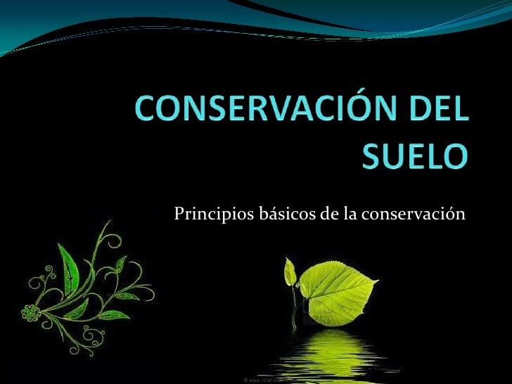 CONSERVACIÓN DEL SUELO<br />Principios básicos de la conservación<br />