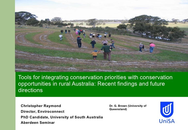 Tools for integrating conservation priorities with conservation opportunities in rural Australia: Recent findings and futu...
