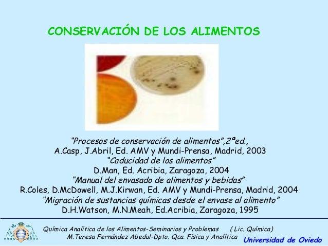 Química Analítica de los Alimentos-Seminarios y Problemas ( Lic. Química) M.Teresa Fernández Abedul-Dpto. Qca. Física y An...