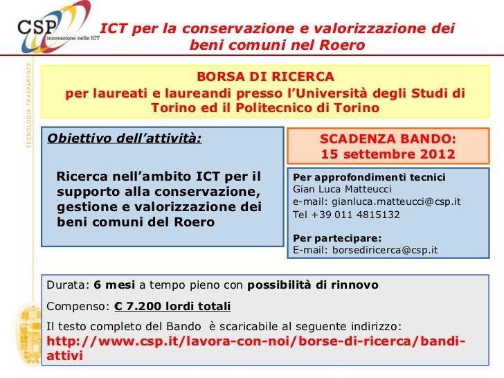 ICT per la conservazione e valorizzazione dei                     beni comuni nel Roero                      BORSA DI RICE...