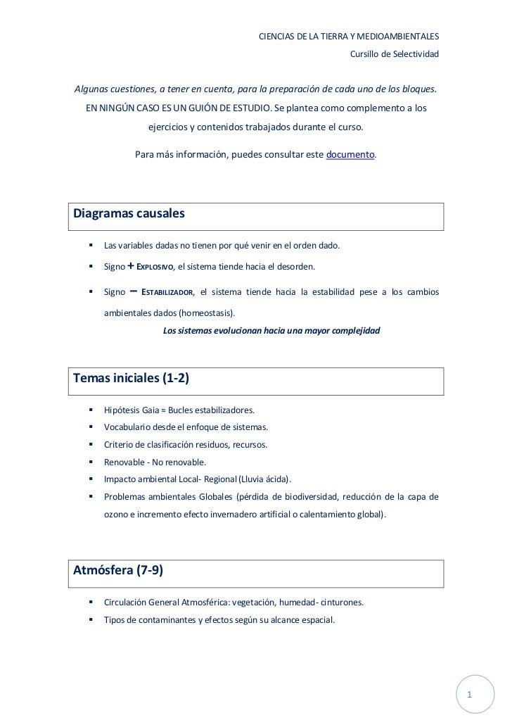 CIENCIAS DE LA TIERRA Y MEDIOAMBIENTALES                                                                       Cursillo de...