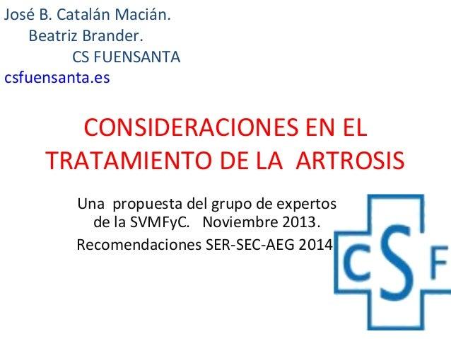 CONSIDERACIONES EN EL TRATAMIENTO DE LA ARTROSIS Una propuesta del grupo de expertos de la SVMFyC. Noviembre 2013. Recomen...