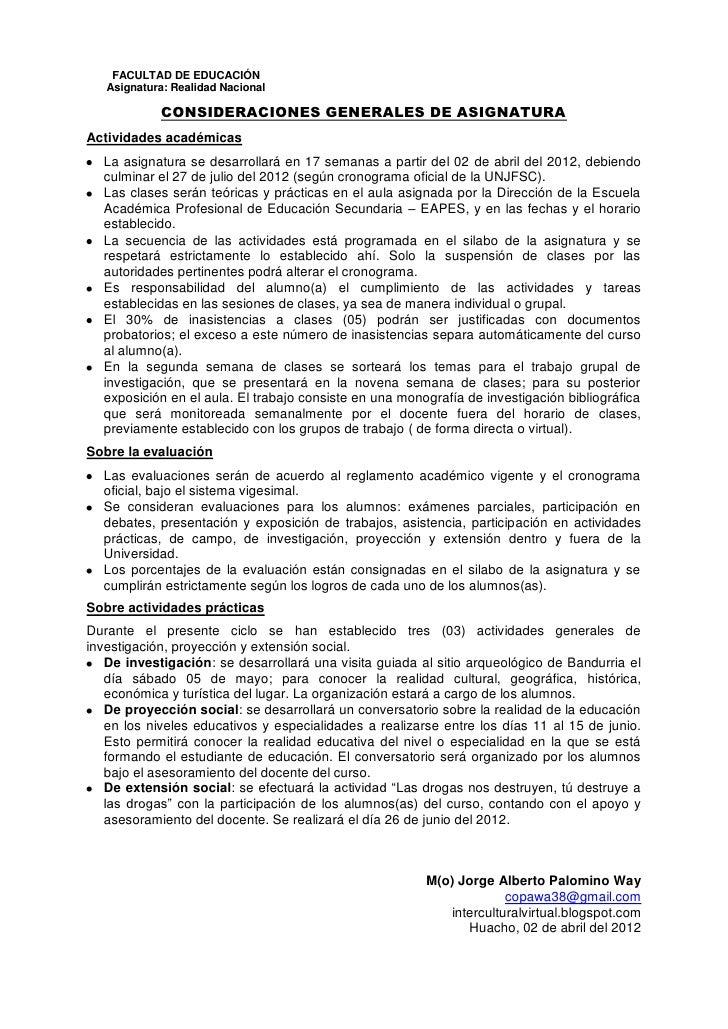 Consideraciones generales 2012