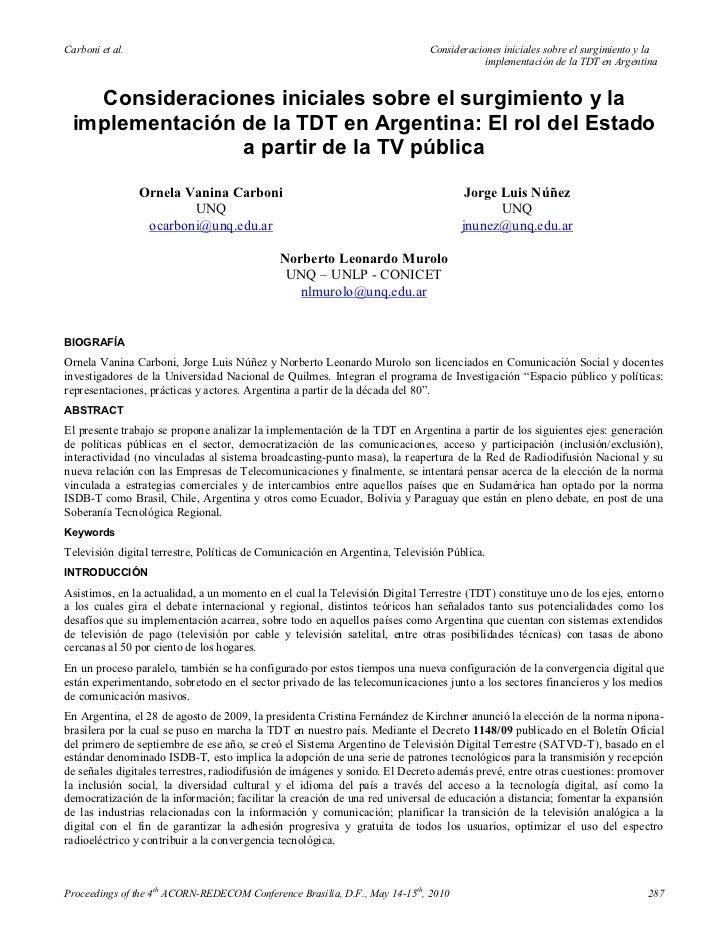 Carboni et al.                                                               Consideraciones iniciales sobre el surgimient...