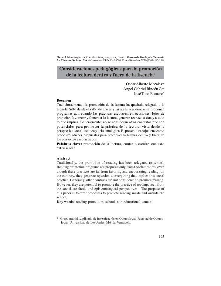 Oscar A. Morales y otros. Consideraciones pedagógicas para la ...: Revista de Teoría y Didáctica delas Ciencias Sociales. ...