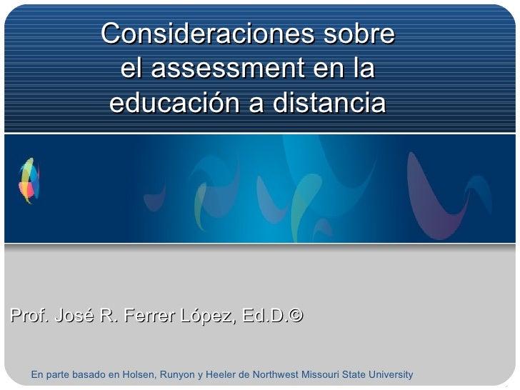 Consideraciones Sobre El Assessment En La EducacióN A