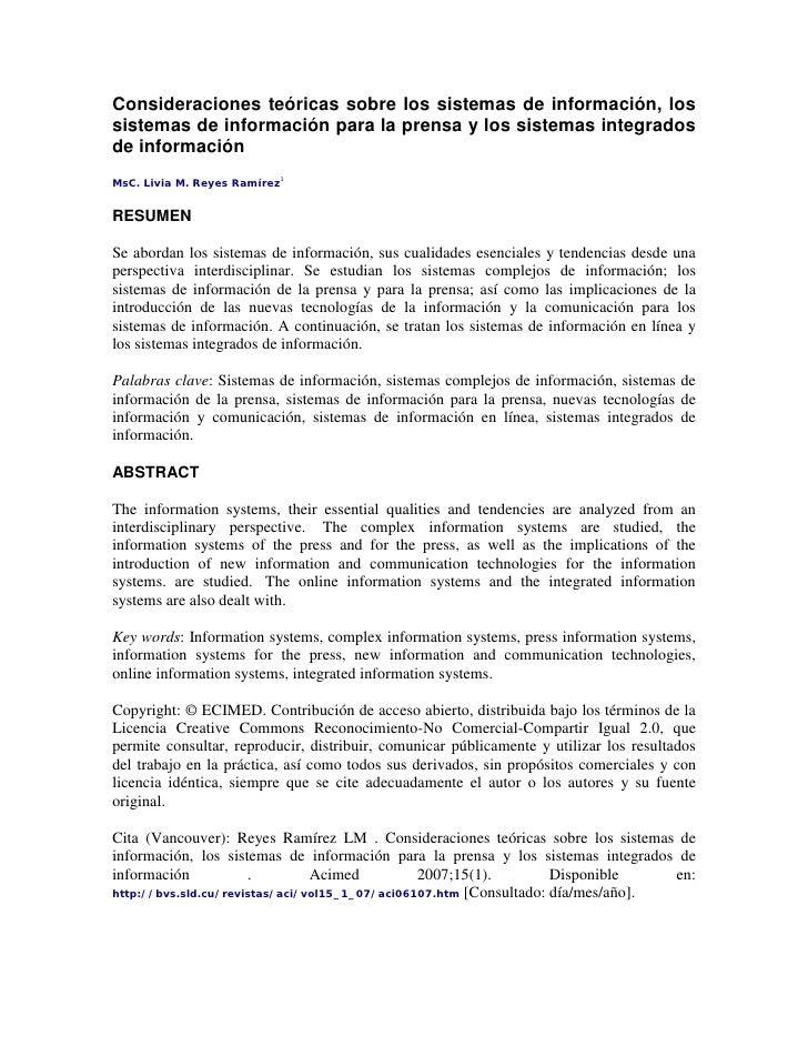 Consideraciones teóricas sobre los sistemas de información, los sistemas de información para la prensa y los sistemas inte...