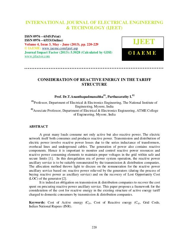 Consideration of reactive energy in the tariff structure