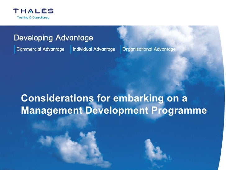 Considerations for embarking on a Management Development Programme