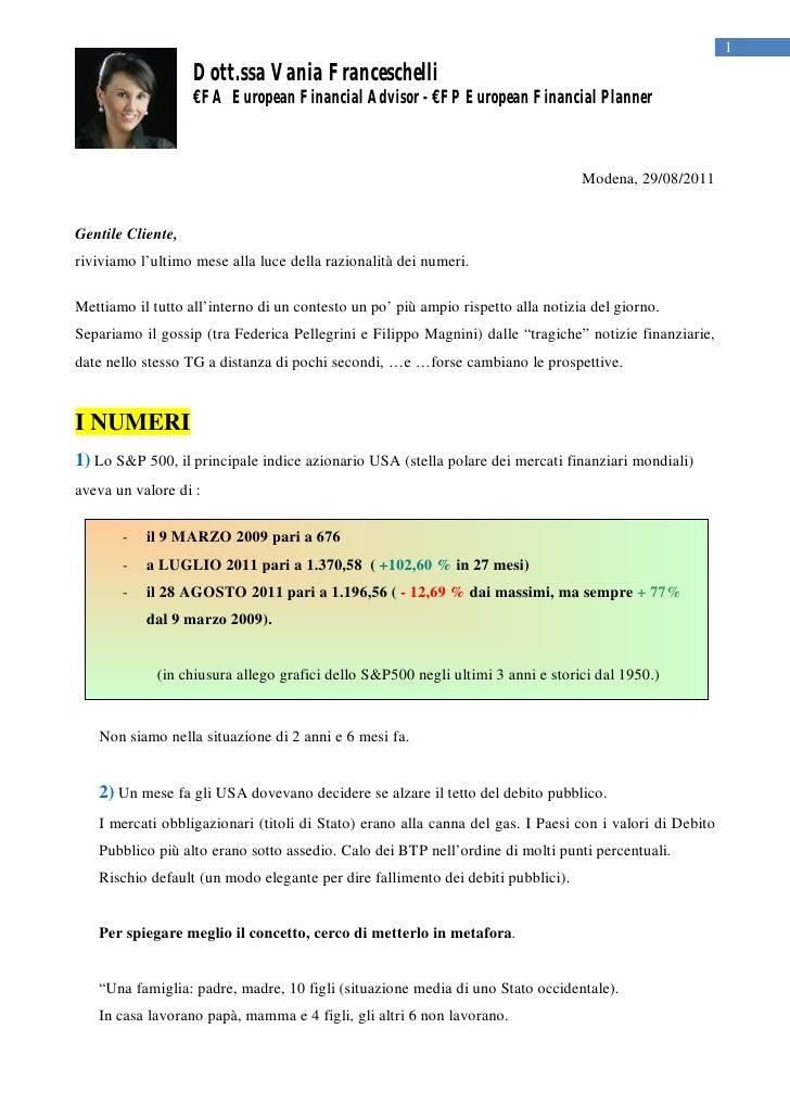 Considerazioni sui mercati 31.08.11