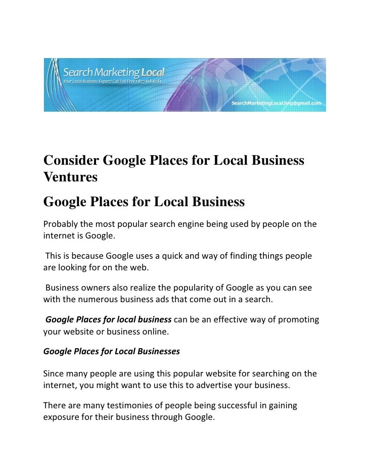 Consider Google Places for Local BusinessVen...