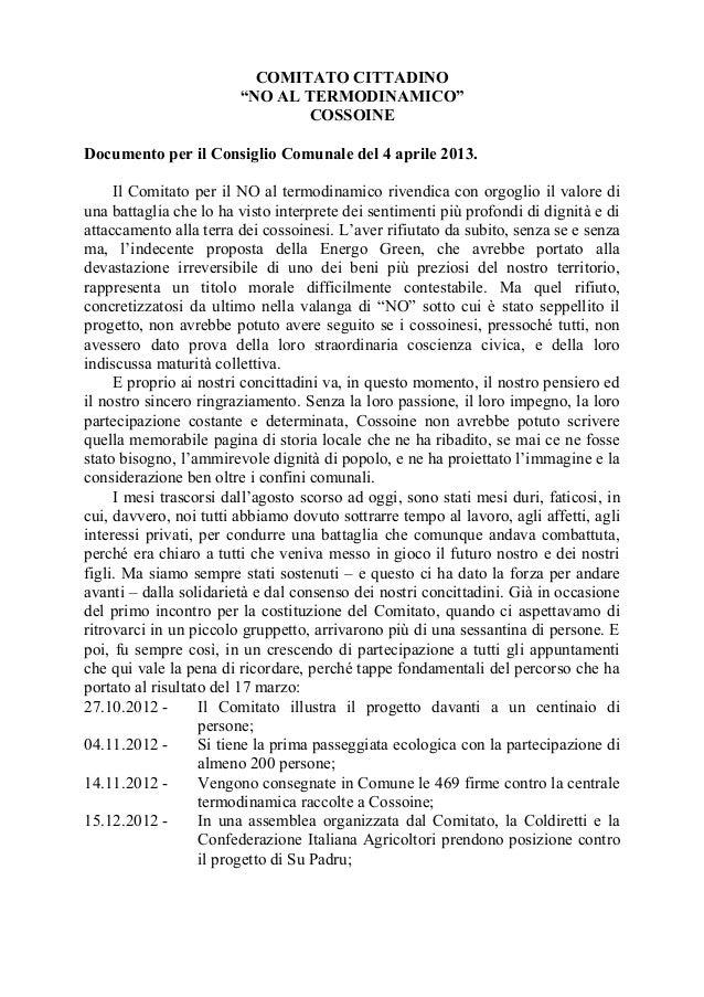 """COMITATO CITTADINO                        """"NO AL TERMODINAMICO""""                               COSSOINEDocumento per il Con..."""