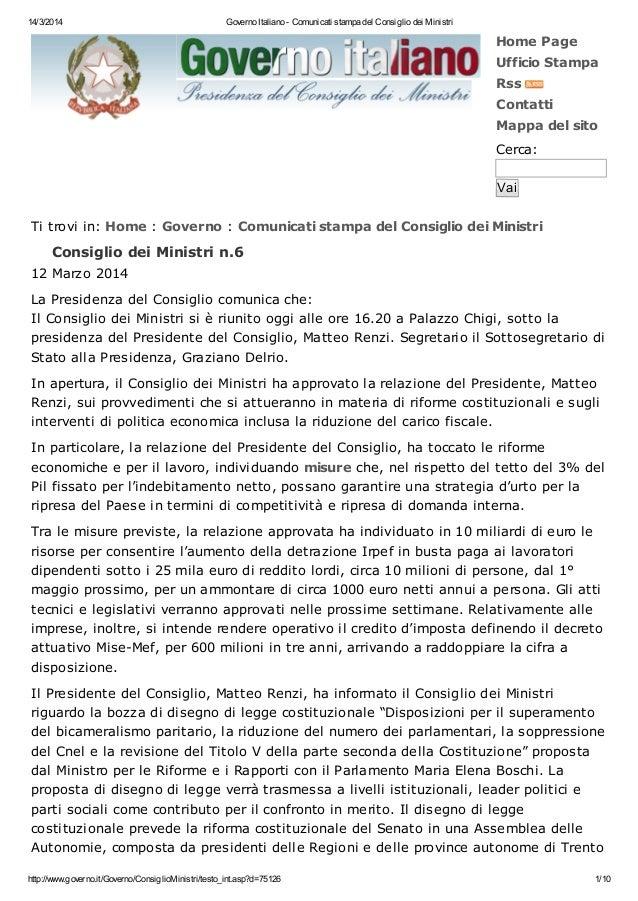 14/3/2014 Governo Italiano - Comunicati stampa del Consiglio dei Ministri http://www.governo.it/Governo/ConsiglioMinistri/...