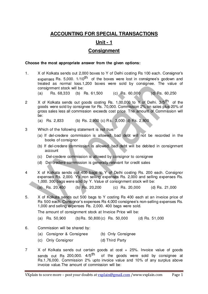 ACCOUNTING FOR SPECIAL TRANSACTIONS                                         Unit - 1                                    Co...