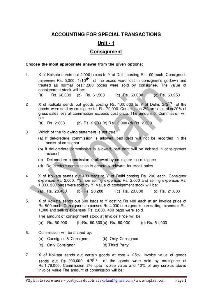 CA-CPT Accounts Consignment Imp MCQs