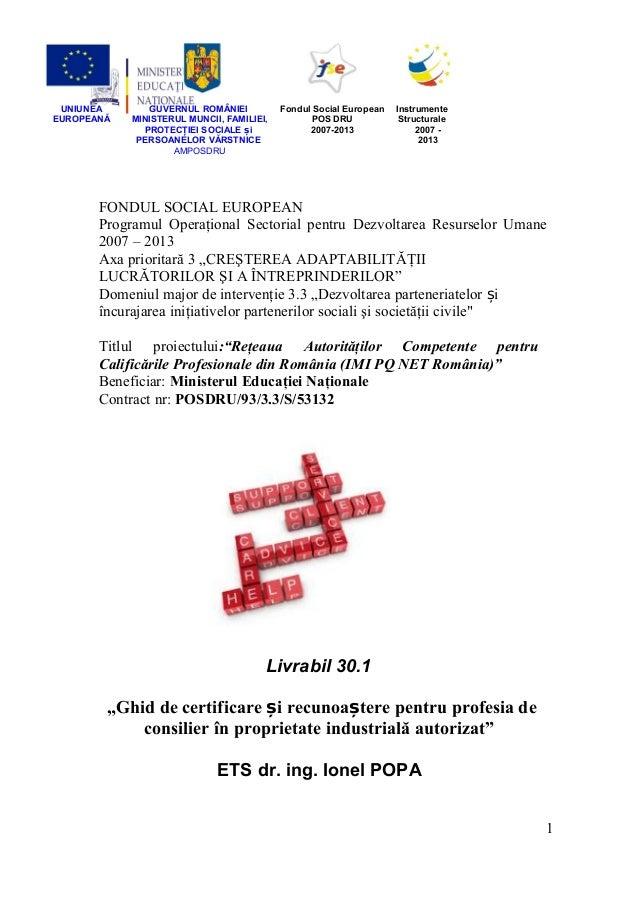 Consilier proprietate industriala autorizat - Ionel Popa - Interne-justitie