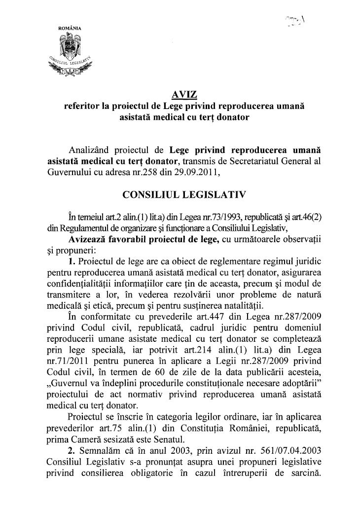 Consiliul legislativ proiect lege tert donator