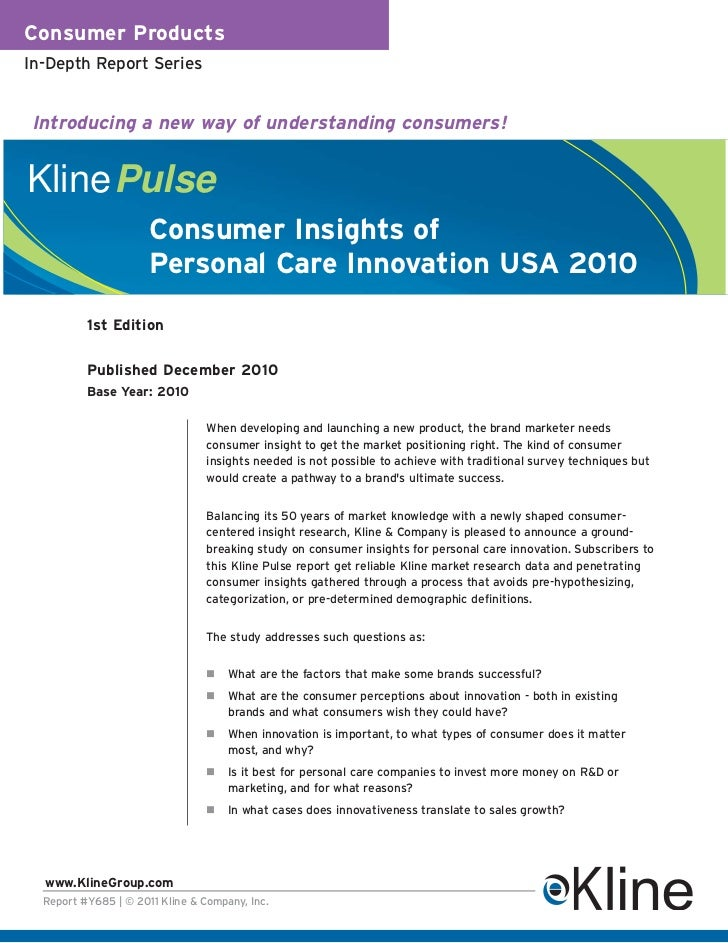 Consumer Insights of Personal Care Innovation 2010 US - Brochure