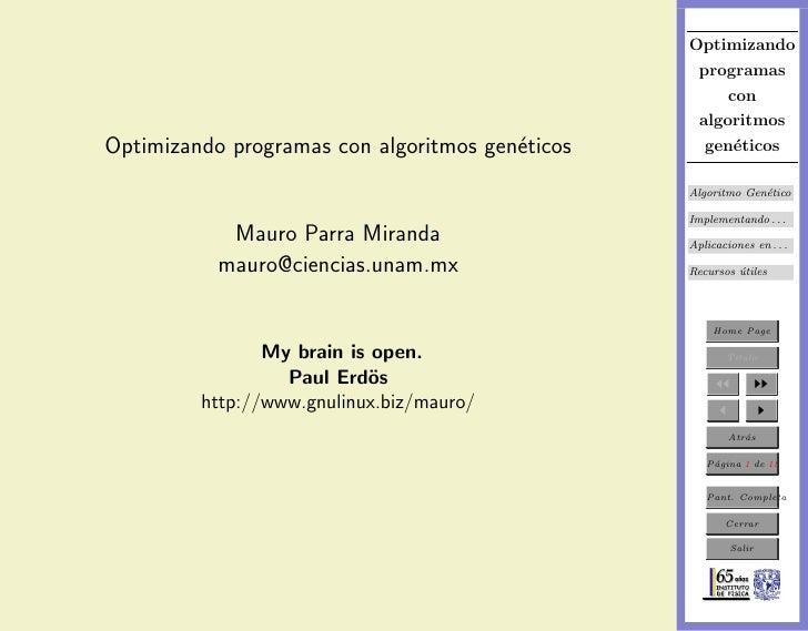 Optimizando programas con algoritmos geneticos