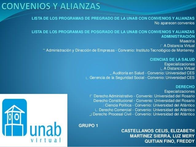 GRUPO 1 CASTELLANOS CELIS, ELIZABETH MARTINEZ SIERRA, LUZ MERY QUITIAN FINO, FREDDY LISTA DE LOS PROGRAMAS DE PREGRADO DE ...