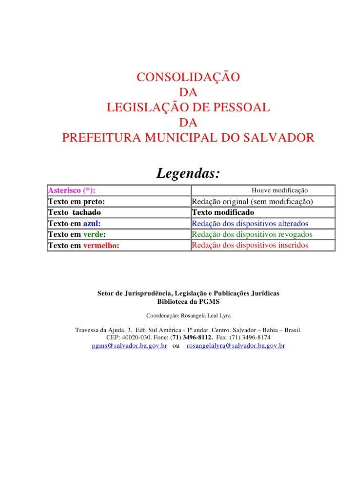 Consolidação Da Legislação De Pessoal Da Prefeitura Municiapl De Salvador-Lei 01/91