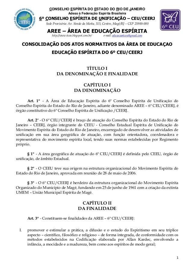 CONSELHO ESPÍRITA DO ESTADO DO RIO DE JANEIRO  Adeso à Federação Espírita Brasileira  6º CONSELHO ESPÍRITA DE UNIFICAÇÃO –...
