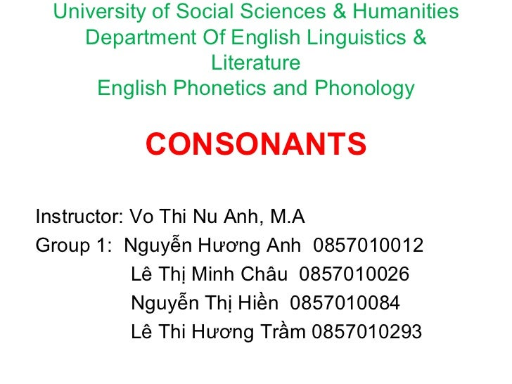 University of Social Sciences & Humanities Department Of English Linguistics & Literature English Phonetics and Phonology ...