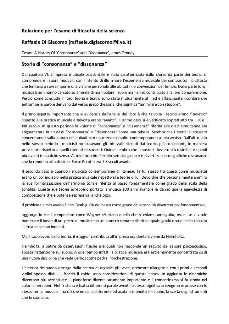 Relazione per l'esame di filosofia della scienzaRaffaele Di Giacomo (raffaele.digiacomo@live.it)Testo: A History Of 'Conso...