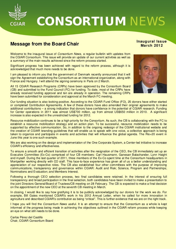 Consortium newsletter inaugural issue march 2012