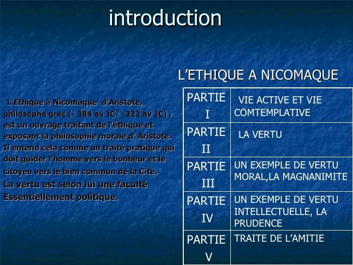introduction <ul><li>L'ETHIQUE A NICOMAQUE   </li></ul><ul><li>L'Ethique à Nicomaque   d'Aristote,  </li></ul><ul><li>phil...